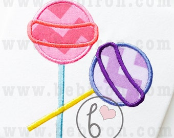 Two lollipops Candy Applique Design Machine Embroidery Pattern Instant Download