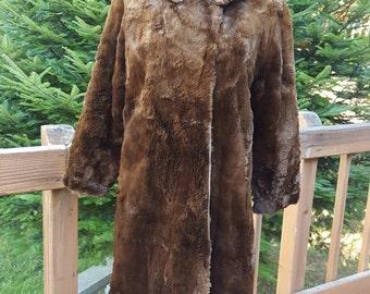 Brown Beaver Long Coat Very Old Super Soft Size Medium - Large
