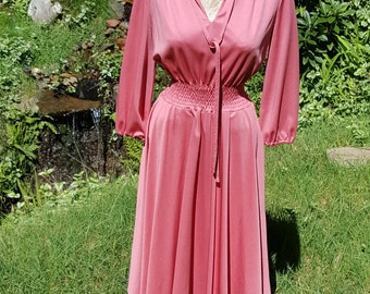 70s Cirette Pink Polyester Dress Size 6 8 Small Medium