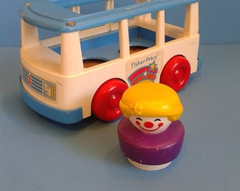 "Vintage Fisher Price Little People "" Chunky Clown Mini Bus/Van "" 1990's"