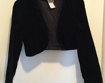 90s Black Velvet Cropped Bolero Jacket S