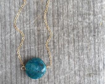Gold Blue Jaspar Disc Necklace - Blue Jaspar - Jaspar Necklace - Jaspar Pendant - Unique Gift - Stocking Stuffer - Gift for Her -Jaspar Disc