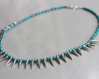 Turquoise spike Necklace & Earrings - Turquoise beads necklace Spike earrings Spike charm necklace Bohemian necklace Tribal jewelry
