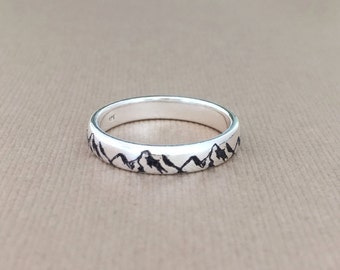 Mountain Ring/925 Sterling Silver Ring/engraved Custom- Personalized /mountain lovers/climber/alpinist/engraving inside sold separately