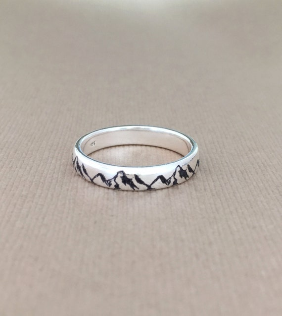 mountain ring 925 sterling silver ring engraved custom