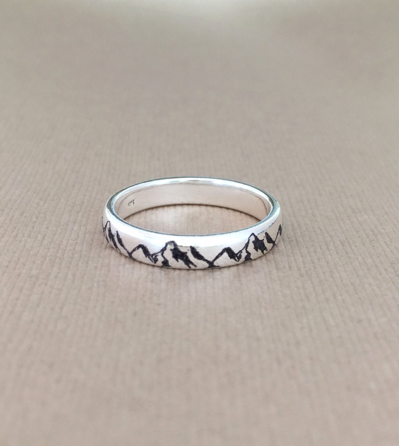 Mountain Ring/925 Sterling Silver Ring/engraved Custom