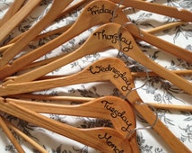 Wooden clothes outfit hangers day of the week hangers - set of 8 - decorated clothes hangers, hand drawn, perfect for outfit planning
