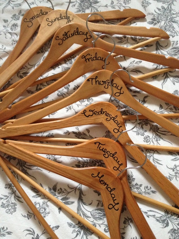 Wooden clothes outfit hangers day of the week hangers