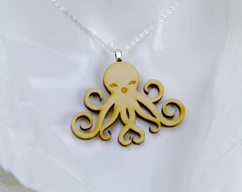 Happy Octopus Necklace (Wooden)
