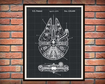 1979 Patent Star Wars Millennium Falcon Art Print - Wall Poster - Han Solo - The Force Awakens -