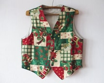Mens Colorful Christmas Vest Christmas Spirit Print Waistcoat Ugly Sweater Party Vest Size XL To XXL Large Oversized