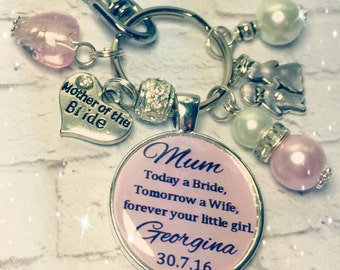 Mother of Bride, Bridal keepsake keyring, Mother of Bride keychain, Brides Mother, wedding keepsakes