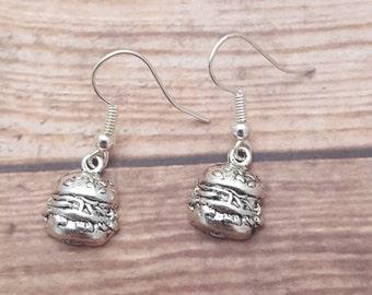 Burger Earrings, Hamburger Earrings, Cheeseburger Earrings, Junk Food Jewellery, Fun Jewelry, Food Jewelry, Food Lover Gift, Barbecue Gift
