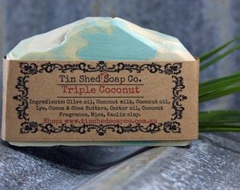 Triple Coconut Milk Handmade Soap with Shea and Cocoa Butters. Made in Australia.