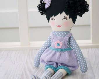FREE SHIPPING Handmade cloth doll - Gorgeous cloth doll wearing a pair of purple knit dungarees