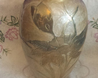 Brass Worked Vase decorated with Raised Flowers