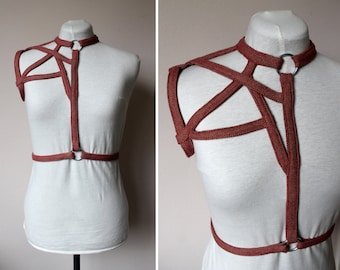 Red ecru tweed body harness size XS S M L bodyharness chestharness fashionharness handmade