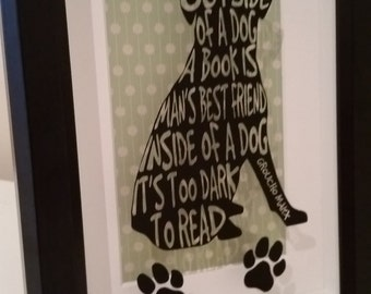 3D Box frame - Man's Best Friend, Dogs and Books
