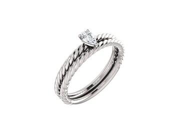 Twisted Rope Pear Diamond Engagement Ring Set > Bridal Set > Wedding Ring Set