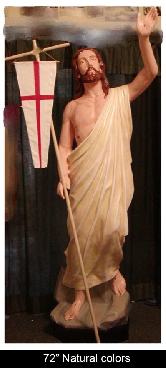 "Jesus Risen Ascending 72"" Fiberglass Catholic Christian Religious Statue"