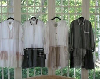 Upcycled Cotton Shirt / Sustainability Blouse / - by Breathe-Again Clothing