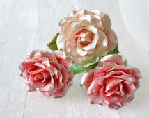 Shabby chic rose porcelain flower, Life size fake flowers, Romantic gift for her, Artificial rose stem, Everlasting clay rose pink red white