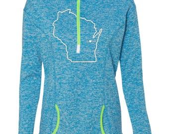 Wisconsin Home 1/4 zip fleece, Wisconsin Sweatshirt, Women's Wisconsin Hoody, WI shirt