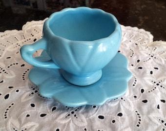 Vintage Camark Pottery Cup & Saucer Turquoise Blue Petal