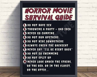 Horror Movie Survival Guide Print | Digital file 8x10 | Horror Movie Printable Wall Art / Halloween Art / Scary Movies