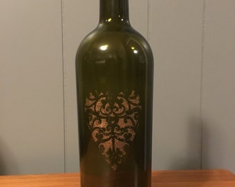 Rustic Heart Painted Wine Bottle Decoration