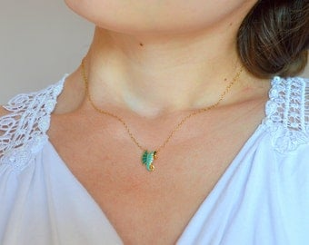 Mint seahorse necklace, Seahorse necklace, Tiny seahorse necklace, Seahorse necklace gold, Beach necklace, Summer necklace, Animal necklace