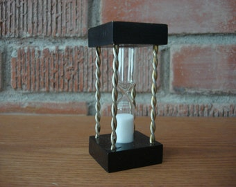 Vintage Wood & Brass Hour Glass Timer, 1960's 3 Minute Sand Timer, Game Timer, Great Mid Century Office Decor, Made in Japan, Collectible ~