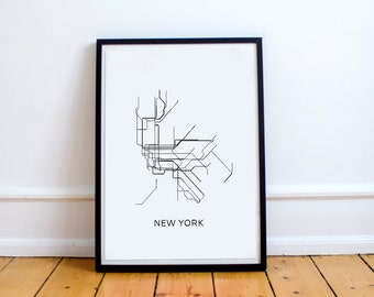 New York Subway Map Print New York Metro Map Poster,Subway Map Print,Metro Map Poster,MAP,Subway Map,Black & White Lines,Vintage Map Retro