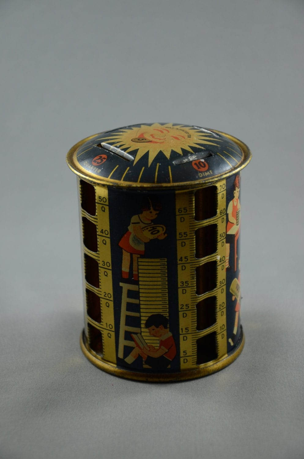 Vintage 1940 39 s tin lithograph stacking coin bank children for How to open a tin piggy bank
