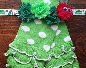 Hungry Caterpillar Green and White Polka Dot Leg Warmers w/ Matching Headband