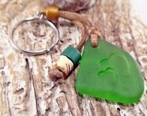 Heart Seaglass Keychain, Beach Keyring, Nautical Accessories, Surf decor