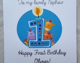 Personalised Handmade Childrens1st Birthday Card-Boy/Son/Grandson/Nephew etc.