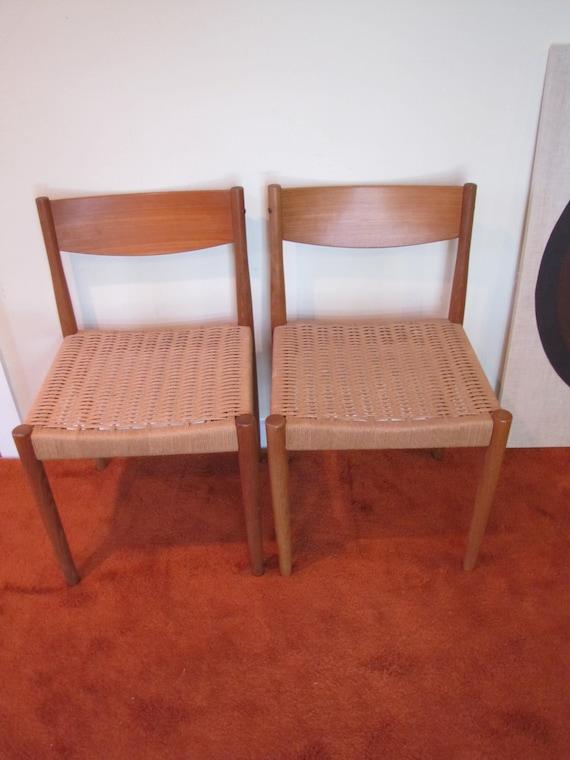 Mid Century Teak Dining Chairs Woven Seat Set Of 2 Teak