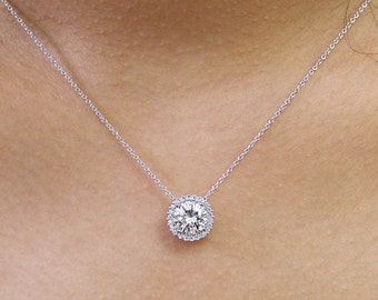 Diamond halo pendant etsy 208 ct diamond halo pendant necklace brilliant cut diamond simulant bridal necklace aloadofball Gallery