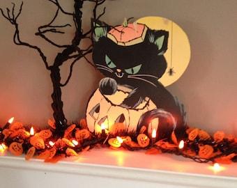 Vintage Halloween Cat Naughty Cat Decoration Halloween Wall Decor Paper Kitty Jack o lantern Pumpkin & Black Cat Retro Halloween Cat