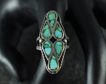 native american jewelry,turquoise ring,native american,turquoise rings,turquoise,ring,zuni jewelry, Vintage Zuni Silver & Turquoise Ring