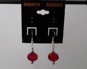 earrings - red bead earrings