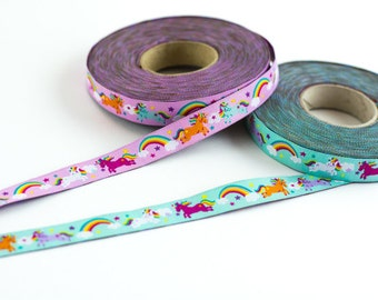 1m woven ribbon: rainbow unicorns