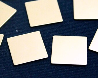 25 pcs 16x16 mm Square Imperforate Brass Silver Color