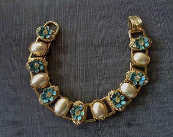 Vintage Gold Tone Pearl Cabochon Aqua Flowers Rhinestone Book Chain Bracelet