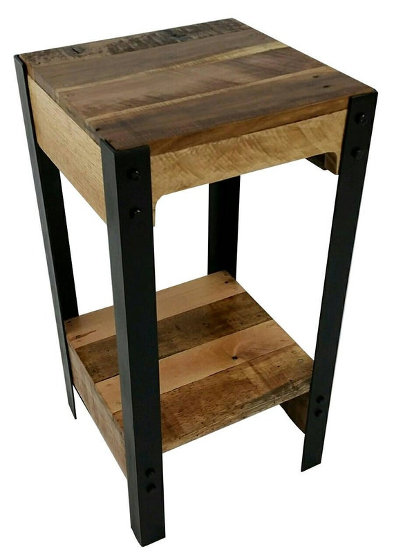Modern pallet wood and steel side table pallet by for Small wood end table