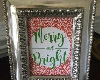 Merry and Bright - Christmas Art Print - Red and Green - 5x7 or 8x10