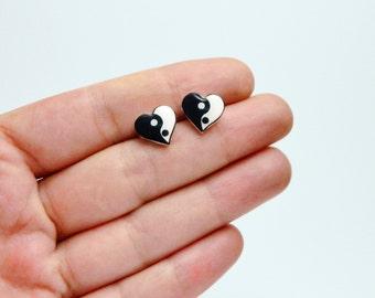 Yin Yang Earrings Yin&Yang Heart Earrings Ying Yang Earrings Stud Earrings Yin Yang Jewelry 90s Grunge Gift Idea