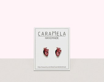 Human heart Stud Earrings Real Heart Earrings Human Heart Post earrings Gift Idea