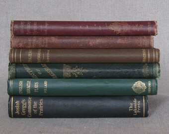Vintage Multicolored Book Bundle, Decorative Book Set